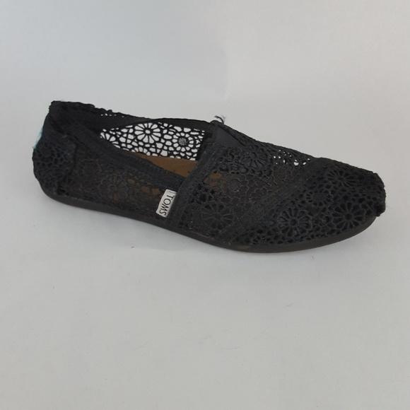 3a52e7d7598c Toms Shoes | Lace Moroccan Flats Black Womens 7 | Poshmark